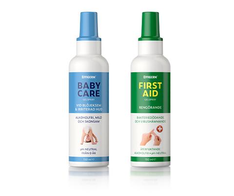 Effigerm desinficerande spray, förpackningar Baby Care och First Aid.