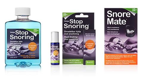 Sluta snarka produkter, munskölj, munspray och bettskena.